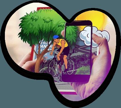 Des dessins apparaissent en réalité augmenté sur un smartphone depuis un un prospectus scanné
